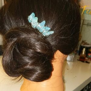 Blue crystal hair accessory silver wire wrap comb